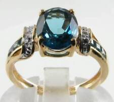 BIG 9CT 9K GOLD 9mm x 7mm LONDON BLUE TOPAZ DIAMOND ART DECO INS RING Free Reize