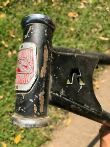 Vintage 1970's Raleigh BMX bike frame, with double gusset and 'R' cutout, black