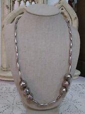 """Vintage Sterling Silver Ball Bead Strand Necklace Unique Hammered 24"""""""