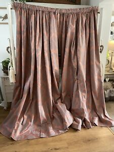 Bespoke Vintage Dusky Pink French Damask Curtains * 2 Pairs Available 85D