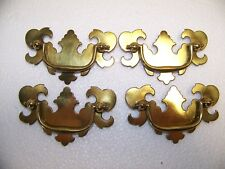 lot of  4 SOLID BRASS KEELER DRAWER DROP BAIL PULL HANDLE new old stock