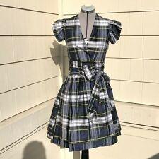 Sara Berman Anthropologie Silk Plaid Wrap Dress Size XS/S