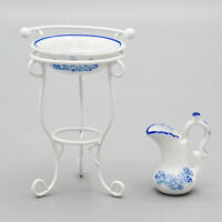 1/12 Miniature 3pcs Ceramic Wash Basin Pitcher Metal White Stand Set Dollhouse