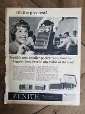 1960 zenith pocket transistor radio vintage ad
