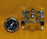 Adjustable Fuel Pressure Regulator Chrome + Gauge Dual Port 4-9 psi