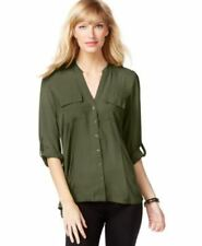INC International Concepts Tab Sleeve Woven Utility Shirt Olive Drab S