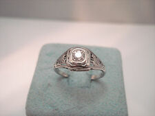 ANTIQUE EDWARDIAN 14K WHITE GOLD DIAMOND SOLITAIRE FILIGREE RING