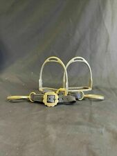More details for vintage solid nickel never rust heavy horse pair stirups and links - (8281)