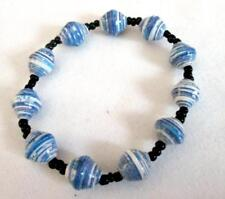 Recycled Paper Bead Stretch Single Strand Bracelet Blue White Mix  Black Accents