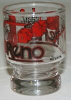 Vintage Shot Glass - Reno Nevada Shot Glass in Red & Black by Smith Sierra