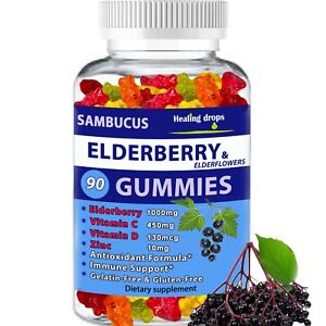 Elderberry Gummies with Zinc Vitamin C, D - Sambucus Elderberry Gummies for Kids