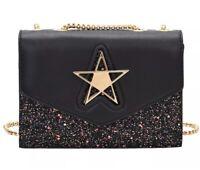 Designer Hilde Bags Star Black Womens Bling Sequined Flap Handbags NEW