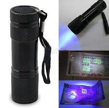 Mini Portable UV Ultra Violet Blacklight 9 LED Torch Light Lamp Flashlight