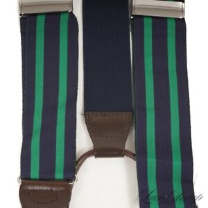 Paul Stuart Navy Blue Spearmint Green Double Stripe Faille Suspenders Braces NR