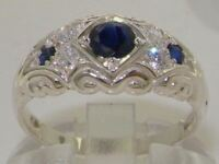 Solid 925 Sterling Silver Ladies Sapphire & Diamond Vintage Wedding Band Ring