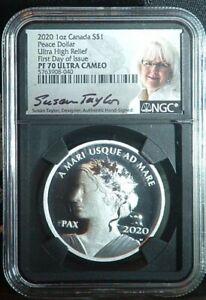 2020 1ST DAY 1st YR COIN PF70 Canada Peace Dollar 1 Oz. Silver PRISTINE SLAB!