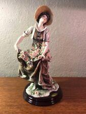"Giuseppe Armani ROSE HARVEST Lady with Pink Roses Figurine 311C 13"" H"