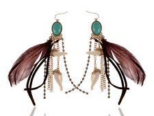 Faux ChicTurquoise Feather Tusk Rhinestone Beaded Chocolate Brown Earrings