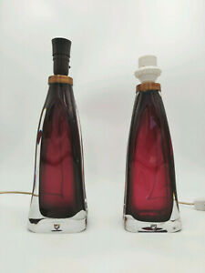 RARE Large Mid Century Modern CARL FAGERLUND for ORREFORS Art Glass Table Lamps