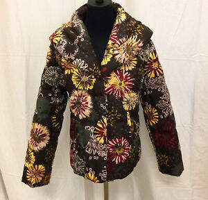 Authentic MISSONI Floral Polyester Puffy Jacket Large Collar Size 8 NWT