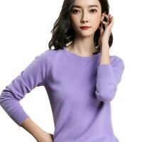 New Round Neck Wool Blend Knitted Pullover Fall Winter Sweater Womens 5XL Tops D