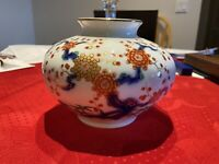 Vintage Japanese Porcelain Fukagawa Arita Imari Vase - antique rare