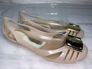 SALVATORE FERRAGAMO Nude Bermuda Jelly Loafers Ballet Flats Size 7 #22469