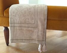 Deluxe Jacquard Chenille Throw Cover Velvety Feel Armchair Sofa 170x170 Beige