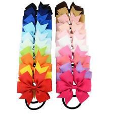 20X Baby Girl Grosgrain Ribbon Hair Bow Bobble Elastic Headband Set School Party