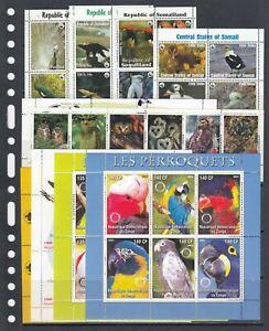 Ducks Parrots Birds Africa Different countries MNH 10 M/s perf Wholesale lot