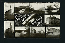 Manawa Wisconsin WI 1911 10 Pix PC, Hotel Ceylon, HS, Bridges, Churches, Homes +