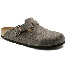 Birkenstock Boston Felt Mens Womens Brown Slip On Clogs Shoes Size 4-12
