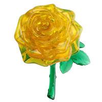 3D Crystal Cube Jigsaw Model DIY Rose IQ Toy Gift Gadget yellow B2L6