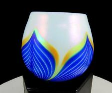 "BOHEMIAN CZECH ART GLASS BLUE AND GOLD PULLED FEATHER IRIDESCENT 3"" VASE"