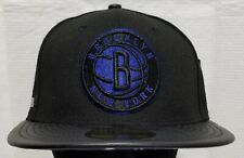 NEW YORK~BROOKLYN NETS~NBA~NEW ERA~59FIFTY~BLACK with BLUE LOGO~SIZE 71/4