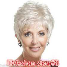 2016 New Beautiful Women lady Wig Short Straight Silver Grey Synthetic Hair Wigs