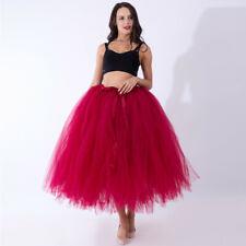 Layer Long Women Tulle Tutu Skirt Petticoat Crinoline Bridal Wedding Ball GownCA