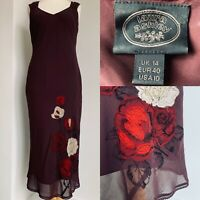 Laura Ashley Vintage Purple Silk Floral Maxi Dress Red Embroidery Retro  Size 14