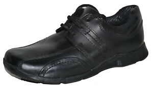 Hush Puppies Boys Black Leather Lace Up School Shoes Size 12 Creek