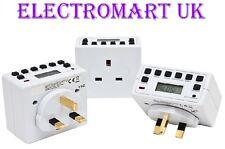 3 X Plug In Digital Lcd Tiempo Timer Switch De 24 horas, 7 días a la red eléctrica 13a