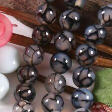 """8mm Natural Black Dragon Veins Agate Gemstone Round Loose Beads 15""""AAA"""