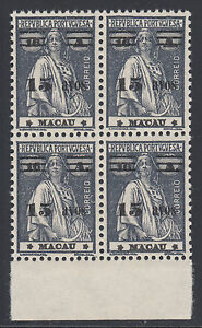 Macao Sc 266 MNH. 1933 15a surcharge on 16a dark gray Ceres, block of 4