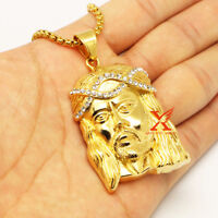 "24"" MENS STAINLESS STEEL ICED OUT JESUS FACE CZ PENDANT NECKLACE 3MM BOX CHAIN"