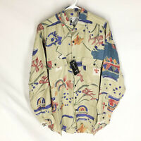 GOOUCH Mens Medium Long Sleeve Shirt Silk Button Up 90s Abstract Art VTG NEW NWT