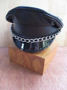 black leather Muir driver gay fetish party biker uniform play cap hat 7 1/8 new