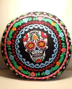 """Day of The Dead (Dia De Los Muertos) Sugar Skull Embroidered Pillow Round 15"""""""