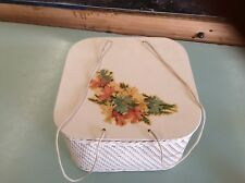 Vtg Off White40s Princess Wicker Wood Square Floral Decal Sewing Basket wNotions