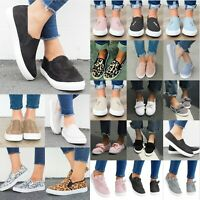 Women Lady Casual Flats Comfort Plimsolls Slip On Loafers Sneakers Pumps Shoes