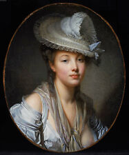 Jean-Baptiste Greuze Young Woman in a White Hat Oil Painting Canvas Print 20x24