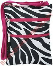 Hot Pink Fuchsia Zebra Messenger Hipster Crossbody Purse Passport Tote Bag